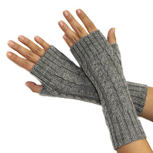 (FINGERLESS MITTENS GLOVES Alpaca Wool made in PERU GREY)