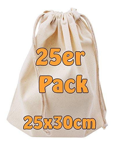 Baumwollbeutel Stoffbeutel mit Kordelzug Lunchsack Kosmetikbeutel Sockenbeutel Schmucksä ckchen Spielzeugtä schchen fü r Kleinigkeiten natur 25x30cm 25 Stü ck Cottonbagjoe