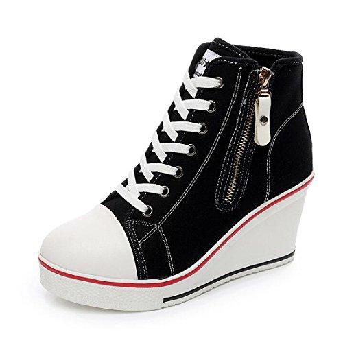 08 Platform Pump (Womens Casual Basic Plus Size High Top Wedge Heel Canvas Shoes Fashion Sneaker)