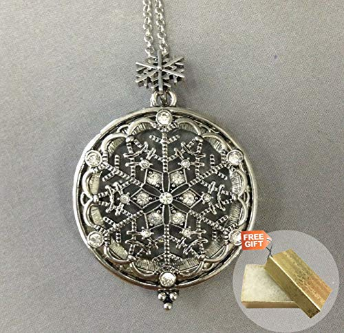 Rhinestone Silver Finish Snowflake 5X Magnifying Glass Long Necklace + Gold Cotton Filled Gift Box for Free