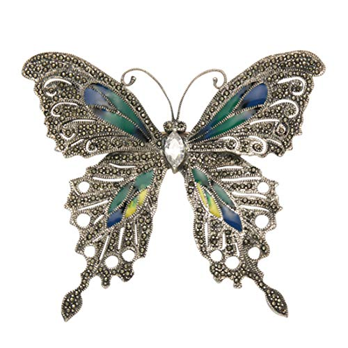Large Sterling Silver & Marcasite Butterfly Pin w/Multi Color Enamel Wings