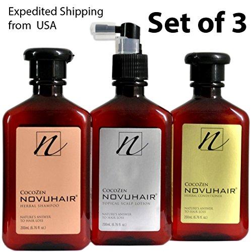 NOVUHAIR [ Novu Hair ] SCALP LOTION, SHAMPOO + CONDITIONER, Set of 3 , by Novuhair