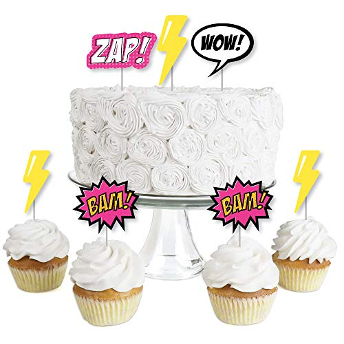 BAM! Girl Superhero - Dessert Cupcake Toppers - Baby Shower or Birthday Party Clear Treat Picks - Set of 24 for $<!--$12.99-->