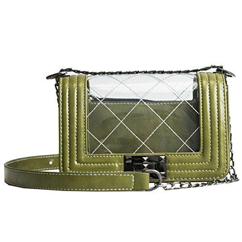 Dunland Bolsos de Mujer Bolso Hombro Bolso Bandolera 2 pieza claro bolsa cubierta de la cadena para Plata