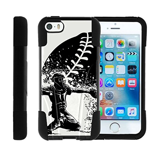 MINITURTLE Case Compatible with Apple iPhone SE, iPhone 5s Strike Impact Kickstand Dual Layer Black Case - Catcher in Action