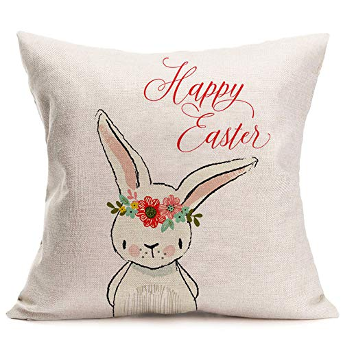 Asamour Happy Easter Rabbit Throw Pillow Covers Cotton Linen Adorable Animal Bunny with Beautiful Wreath Decorative Pillow Cushion Case Home Sofa Pillowslip for Kids18