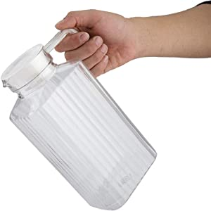 Plastic Pitcher - Ribbed Plastic Beverage Drink Pitcher Acrylic Transparent Juice Bottle Striped Water Ice Cold Juice Jug with Lid for Bar Home (Size : 1800ml)