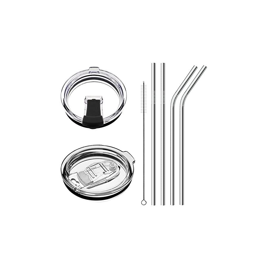 YouZi No Leak 100% Spill Proof Splash Resistant Lid with Drinking Straws Fit for YETI Rambler, Ozark Trail, Rtic(old) Cooler and More Stainless Steel Mugs