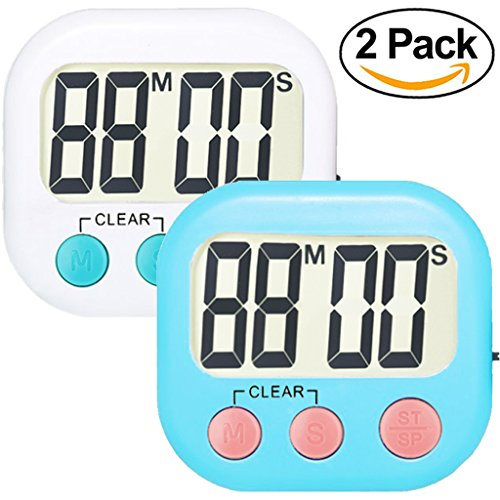 2 Pack Digital Kitchen Timer Strong Magnetic Electronic Countdown and Count Up, Loud Alarm Small Size