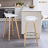 FurnitureR Juego de 2 taburetes, taburete de bar moderno, cómodo y sin brazos, taburetes de bar de altura de mostrador…