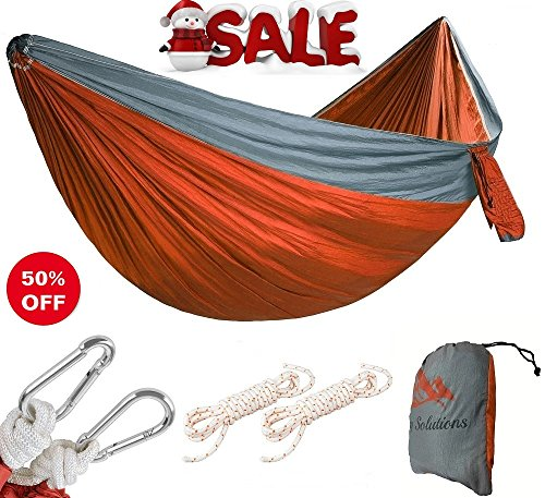 Outdoor Single & Double Camping Hammock Portable Lightweight Parachute Nylon Hammock with FREE Heavy Duty HANGING SET & STAFF BAG for Outdoors Backpacking Hiking Camping Or Travel