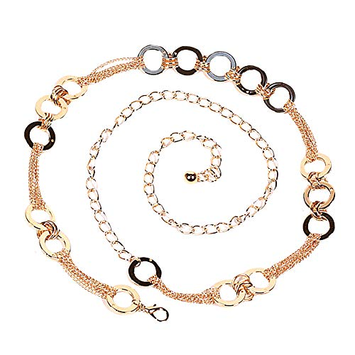 Sherry Fashion Women Metal Chain Dress Belt Skinny Waist Belt (Gold03)