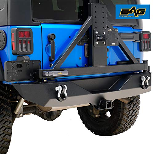 - EAG Rear Bumper W/Secure Lock Tire Carrier for 07-18 Jeep Wrangler JK