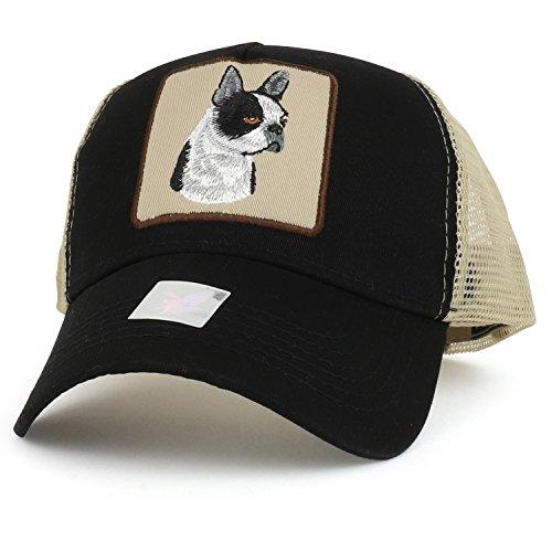 (Trendy Apparel Shop Boston Terrier Dog Embroidered Mesh Back Trucker Cap - Black Khaki)