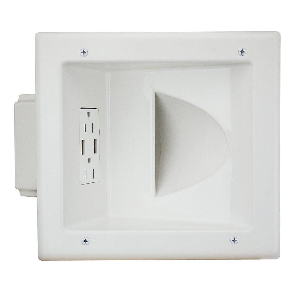 Datacomm Electronics 45-0231-WH USB Recessed Media Box with Duplex Receptacle & 4.0 Amp Dual USB Ports, White by Datacomm Electronics