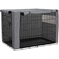 QEES Dog Crate Covers for Wire Crates, Frosted Cloth Windproof Pet Kennel Cover Provided for Wire Crate Indoor Outdoor…