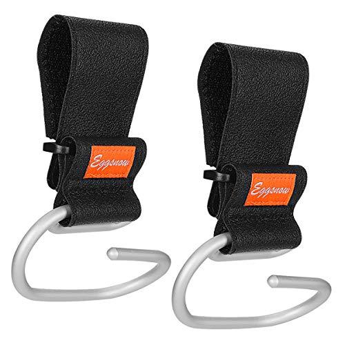 Stroller Hooks Clips 2 Pack Hooks for Walker/Rollator/Wheelchair by Eggsnow Aluminum-Black
