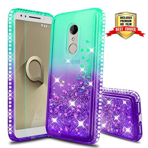 (Alcatel 3 Case, Revvl 2 Case [T-Mobile] with HD Screen Protector, Atump Glitter Liquid Diamond Cute TPU Silicone Protective Phone Cover Case for Alcatel 3 Green/Purple)