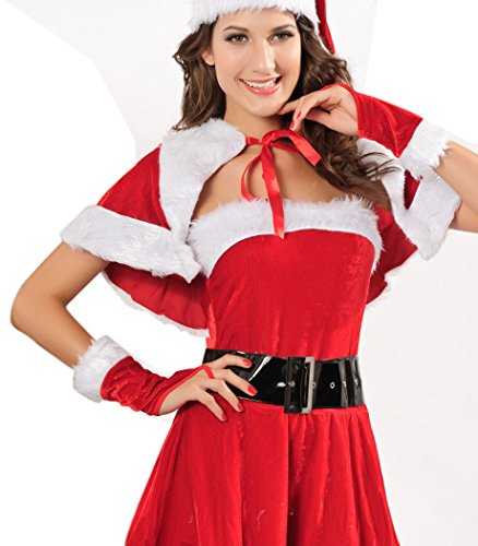 LESRANCE Black Friday Christmas Costumes Mrs. Santa Claus One Size (Homemade Costumes With Tights)