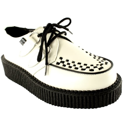 Mujer Tuk Single Flatform Brother Enredadera Oxfords Cuero Retro Zapatos Blanco