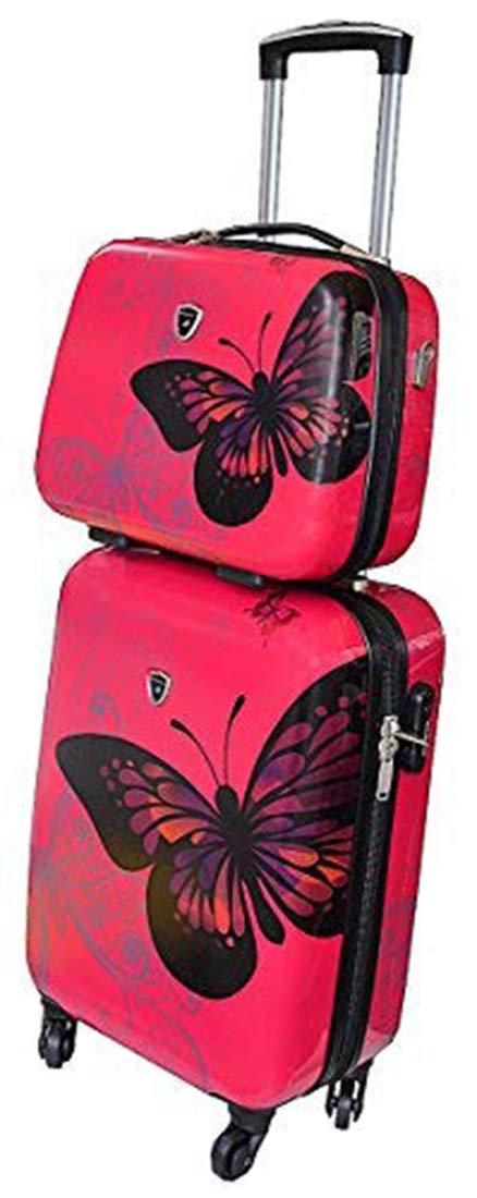 Valise Cabine Rose avec son Vanity assorti motif Papillon.