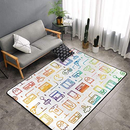 Alfombra para juegos de videojuegos, color negro, para dormitorio, sala de estar, sala de estar, bano, alfombra de pie, Game Video Gaming Pattern, 100 x 150 cm