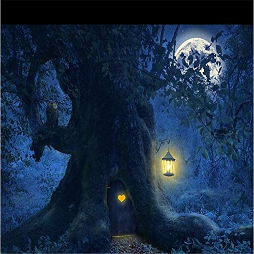 Custom Wallpaper Photos HD Fantasy Beautiful Forest Tree Moon Night Tree Scenery Halloween Background Wall Painting Cchpfcc-280X305CM -