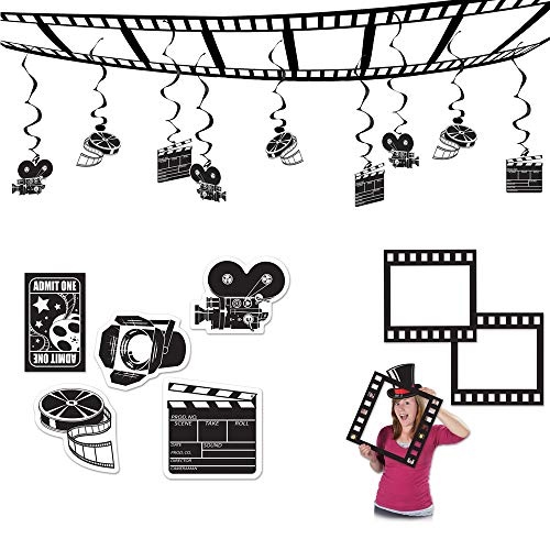 TCS Party Bundles Movie Awards Night Decoration 16 Piece Bundle Ceiling Decor Cutouts Photo Fun -