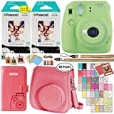 Fujifilm Instax Mini 9 Instant Camera (Lime Green), 2 x Twin Pack Instant Film (40 Sheets), Camera Case, Photo Album, Square Photo Frames & Accessory Bundle