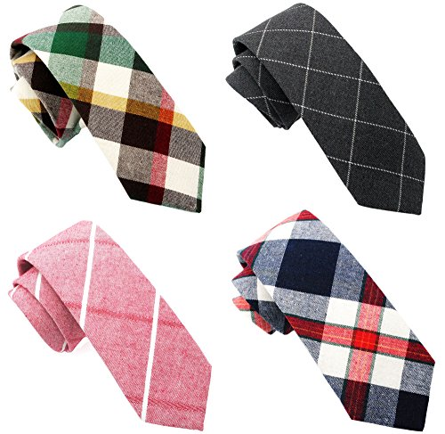 Casual Skinny Neckties for Men Cotton Plaid/Floral Slim Tie TG-006 ()