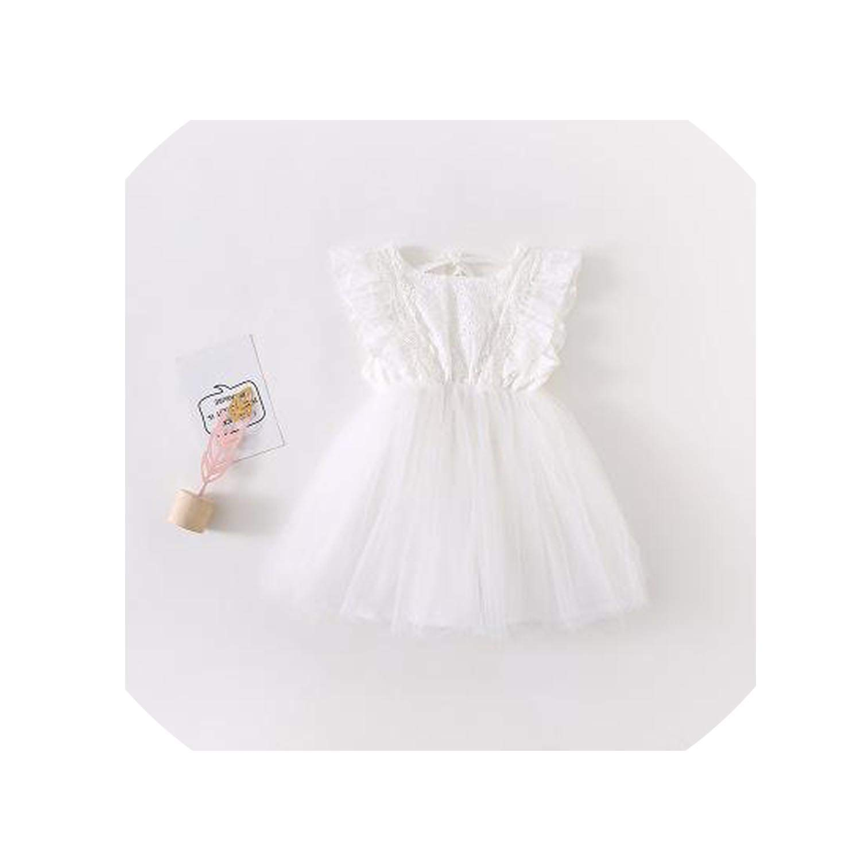 2019 Summer Korean Version Cotton Pure Color All Match Princess Lace Vest Bubble Dress for Cute Sweet Baby Girls,White,18M
