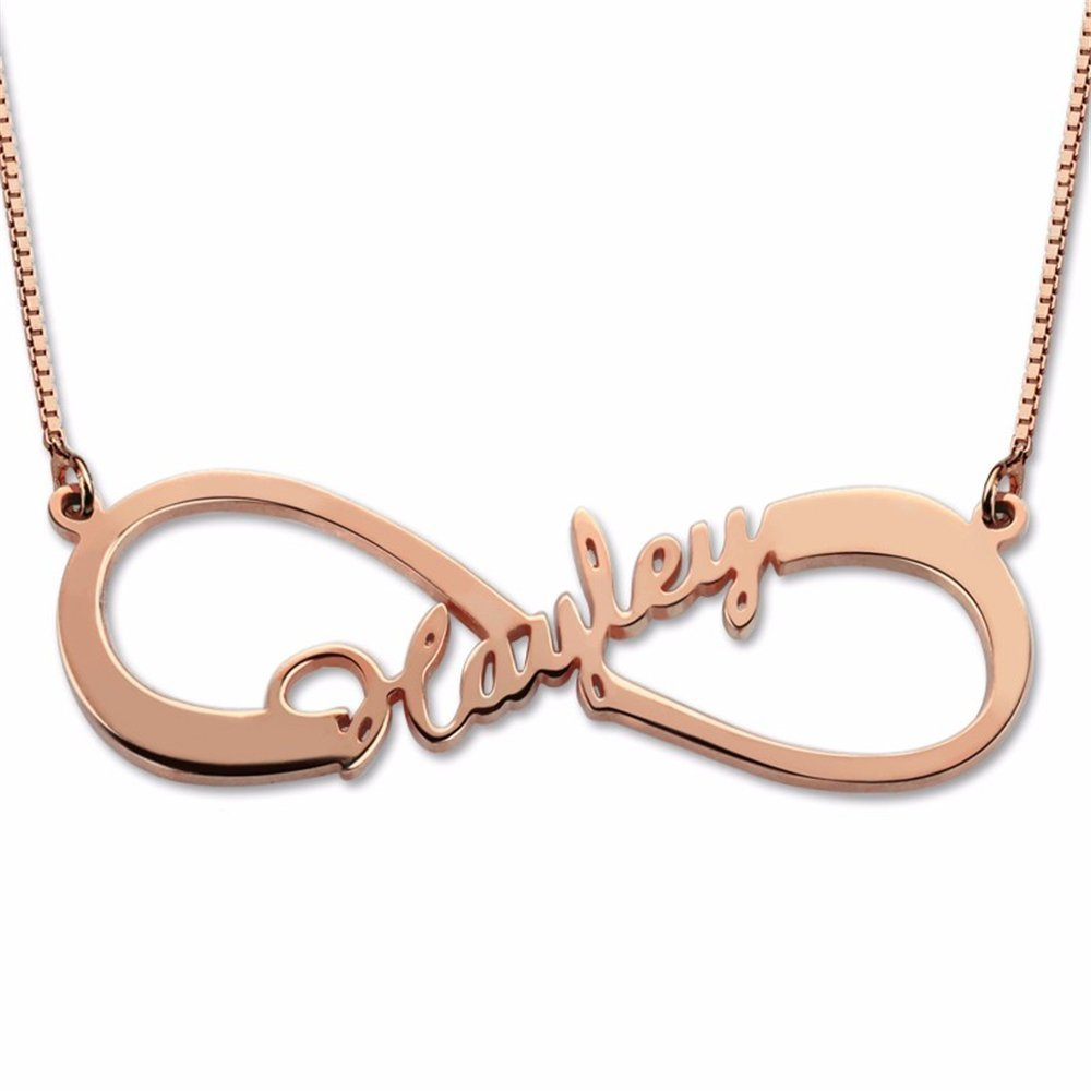 Amandasessom Custom Personalized Necklaces Infinity Necklace With Initial Pendant Jewelry for Her