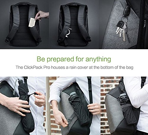 Korin Design ClickPack Pro - Anti-theft BackPack Laptop Bag with USB charging port large capacity waterproof TSA travel friendly Black and Grey by Korin Design (Image #6)