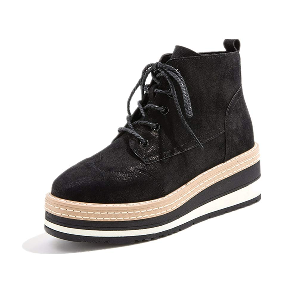 Fuxitoggo Frauen Plattform schnüren Sich Zipper Ankle Stiefel (Farbe   Schwarz Größe   EU 36)