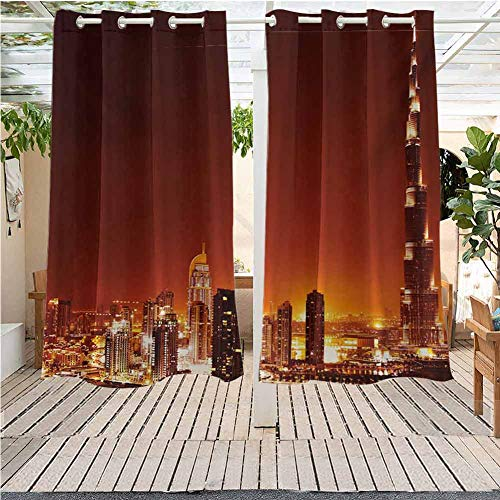 DONEECKL Landscape Custom Outdoor Curtain Arabic Dubai Downtown with Cityscape Skyscrapers Sunset Middle East City Photo Room Darkening, Noise Reducing W55 x L72 inch Multicolor (Royal Garden Dubai Furniture)