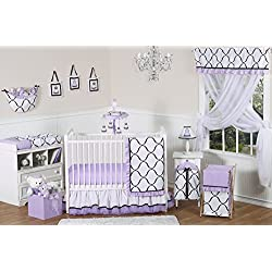Sweet Jojo Designs Purple, Black and White Princess Baby Girl Bedding 11 piece Crib Set without bumper