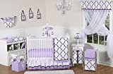 Sweet Jojo Designs 11-Piece Purple, Black and White Princess Baby Girl Bedding Crib Set Without Bumper