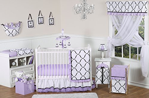 Purple, Black and White Princess Baby Girl Bedding 11pc Crib Set without bumper - Baby Girl Bedding Black