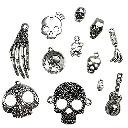 30PCS Assorted DIY Antique Skull Skeleton Punk Steampunk Charms Pendant Bulk for Jewelry Making by ZXSWEET ()