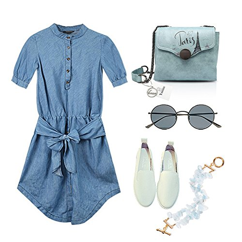 Yoome estilo de impresión de estilo retro Bolsas para el hombro Bolsos con estilo para las mujeres Monederos cartera - azul Rosado