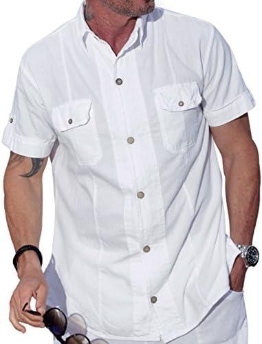 M & B EE. UU. Algodón Blanco De Manga Corta Botón Abajo Camisa Casual Dos Bolsillo Camisa
