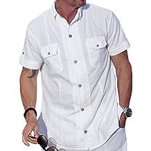 M&B USA Cotton White Short-Sleeve Button Down Casual Shirt Two Pocket Shirt