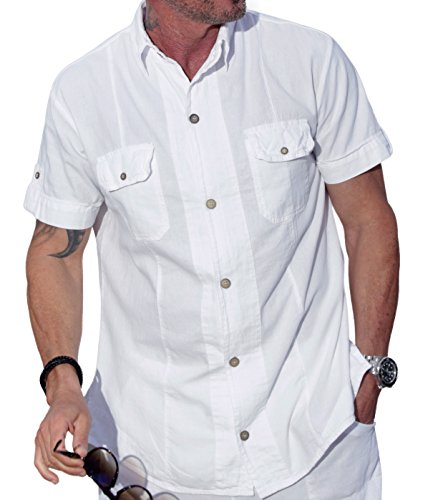 M&B USA Cotton White Natural Two Pocket Short-Sleeve Button Down Casual Shirt (Medium, White)