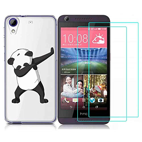 HTC Desire 628 Case with 2 Pack Glass Screen Protector Phone Case for Men Women Girls Clear Soft TPU with Protective Bumper Cover Case for HTC Desire 628-panda