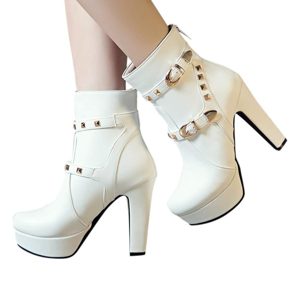 Baiggooswt Women's Round Head Thick Heel Boots Zipper Waterproof Platform High Heel Low Tube Warm Non-Slip Boots(White, US:8) by Baiggooswt