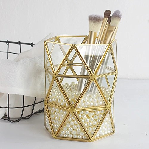 PuTwo Makeup Brush Holder Handmade Vintage Metal and Glass Makeup Organizer with Free White Pearls - Gold