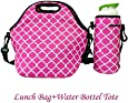 Amerzam Neoprene Lunch Bags/Lunch Boxes, Waterproof Outdoor Travel Picnic Lunch Box Bag Tote with Zipper and Adjustable Crossbody Strap (Rose Red Lunch Bag+Water Bottle Tote)