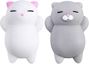 NUTTY TOYS Squishy Cat Set - 2 Soft Silicone Kawaii Kitties, Top Stress Relief Gifts 2019, Unique Stocking Stuffer Idea for Kids & Adults, Best Teen Girls & Tweens Present for Christmas 2020
