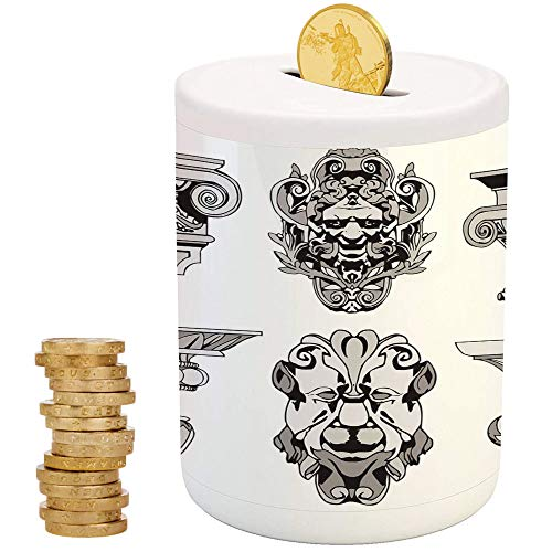 Toga Party,Money Bank for Kids,Printed Ceramic Coin Bank Money Box for Cash Saving,Roman Architectural Decorations Sphinx Lion and Column Antique Design