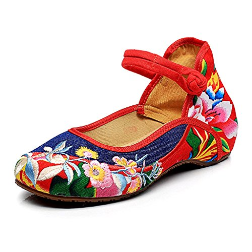 Women 's Embroidered Shoes Fall Comfortable Flat Shoes Buckle Ethnic Style Shoes ( Color : Blue , Size : US:6\UK:5\EUR:37 )